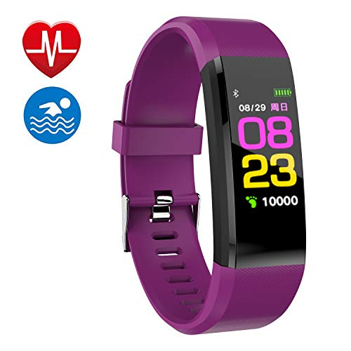 Smart Watch Fitness Tracker, Fitness Watch,Heart Rate Monitor, Waterproof Smart Fitness Band with Step Counter, Calorie Counter, Pedometer Watch for Kids Women and Men (Purple)