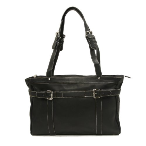 Piel Leather Belted Computer Tote, Black, One Size
