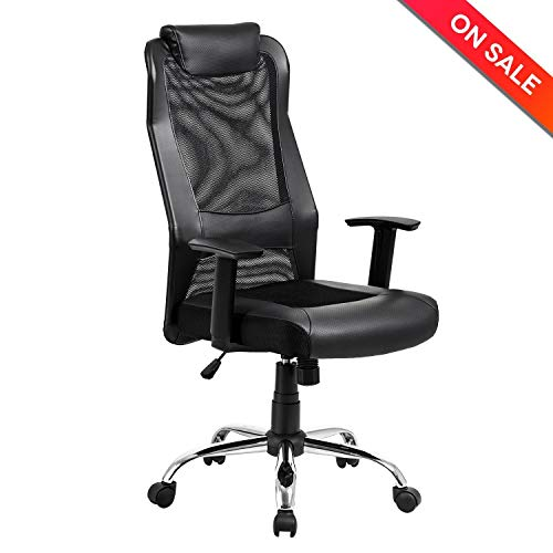 KADIRYA High Back Mesh Office Chair - Ergonomic Computer Desk Task Executive Chair with Padded Leather Headrest and Seat, Adjustable Armrests, Black
