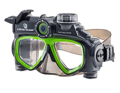 Liquid Image 305G XSC-Xtreme Sport Cams LIC Hydra Series 12MP Mask Waterproof Video Camera with 1-Inch LCD (Black/Green) ()