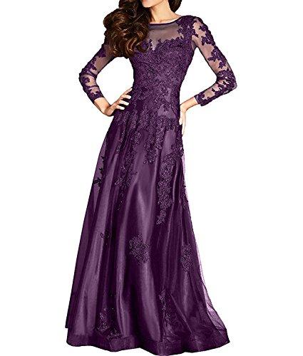 Brautmutterkleider Damen Spitze Ballkleider mia Abendkleider Festlichkleider Formal Traube Braut Langarm La Lang EIB6zxx