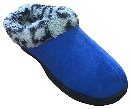 Womens Microsuede Clog (Dearfoams Women's Microsuede Plush Trim Scuff Slipper (Large / 9-10 B(M) US, Olympic Blue))