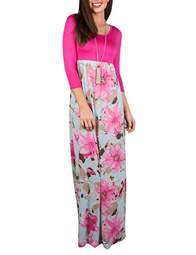 DUNEA Women's Maxi Dress Floral Printed Autumn 3/4 Sleeve Casual Tunic Long Maxi Dress (X-Large, Pink#1)