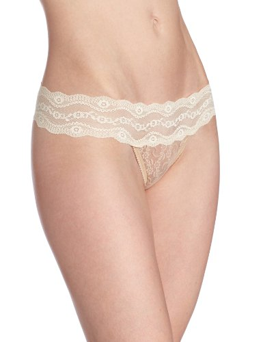 b.tempt'd by Wacoal Women's Lace Kiss Thong Panty, Naughty Naked, Large
