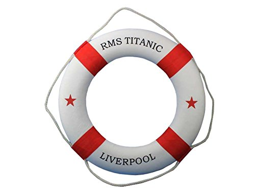RMS Titanic Lifering 20'' - Red Life Ring Decor Beach Interior Decorating Beach by Handcrafted Model Ships