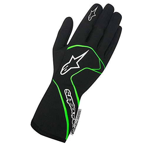 Alpinestars 3551117-167-M Tech 1 Race Gloves, Black/Green Flourescent, Size M, SFI 3.3 Level 5/F