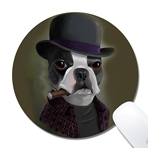 Rinda Customized Round20x0.2cm Mouse Pad, Bowler Hat Terrier with Cigar, Non-Slip Rubber Gaming Mousepad, Durable & Comfortable Mouse Mat with Stylish Pattern
