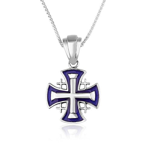 Marina Jewellery Genuine 925 Sterling Silver Chain Necklace, Enamel Jerusalem Cross Pendant Charm, 18 Inch Box Chain
