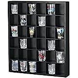 36 Slots Shot Glass Curio / Miniature Collectibles Wall Display Cabinet, No Door, MH37-BLACK