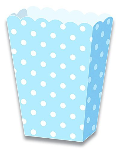 LolliZ Popcorn Paper Box Blue & Polka Dots. 12- Pieces Pack
