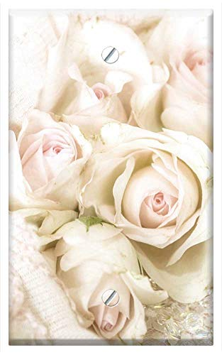 Single-Gang Blank Wall Plate Cover - Pastel Roses Antique Vintage Shabby Chic Wedding