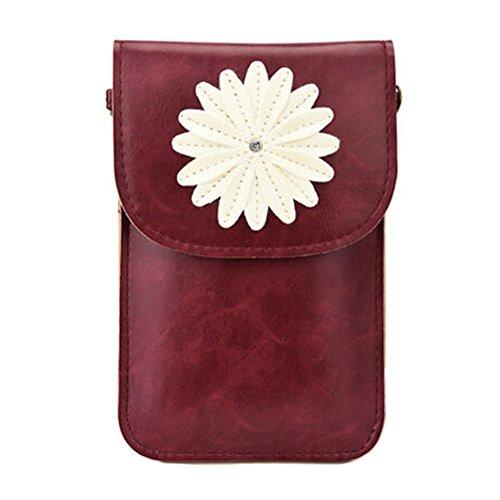 Nette PU-Leder-Handy-Beutel-einzelner Schulter-Beutel mit Blume, Weinrot