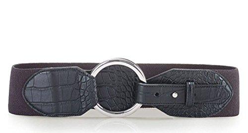 Lauren Ralph Lauren Croc-Embossed Stretch Belt - Black - (Ralph Lauren Croc)