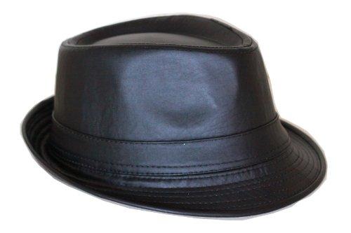 (FedoraSale Faux Leather Fedora Hat - Black)