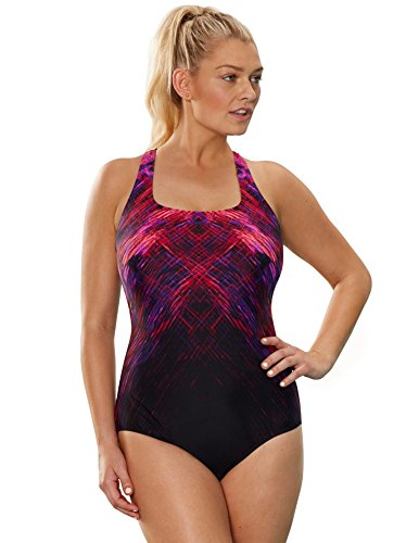 dbf9ca1962 Aquabelle Women s Plus Size Chlorine Resistant Canyon X-Back Swimsuit 20  Pink. Aquabelle Swimwear ...