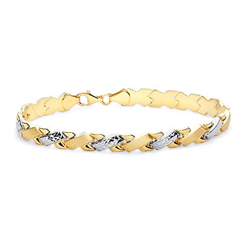 """Wellingsale 14k Two 2 Tone White and Yellow Gold Polished Stampato Bracelet - 7.25"""""""