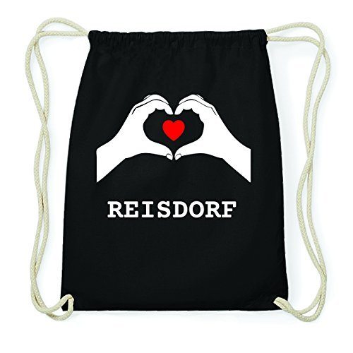 JOllify REISDORF Hipster Turnbeutel Tasche Rucksack aus Baumwolle - Farbe: schwarz Design: Hände Herz