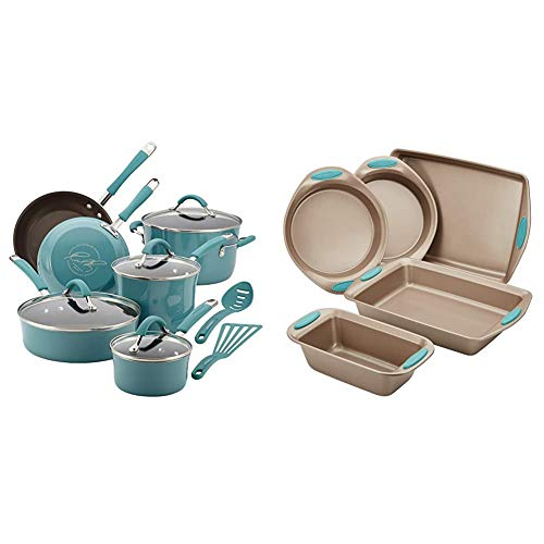 Rachael Ray Cucina Nonstick Cookware Pots and Pans Set, 12 Piece, Agave Blue & Cucina Nonstick Bakeware Set with Grips…