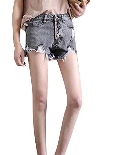Donne Frange Alta Vita Pantaloncini Occasionale Grigio Di Jeans rt8Fwr