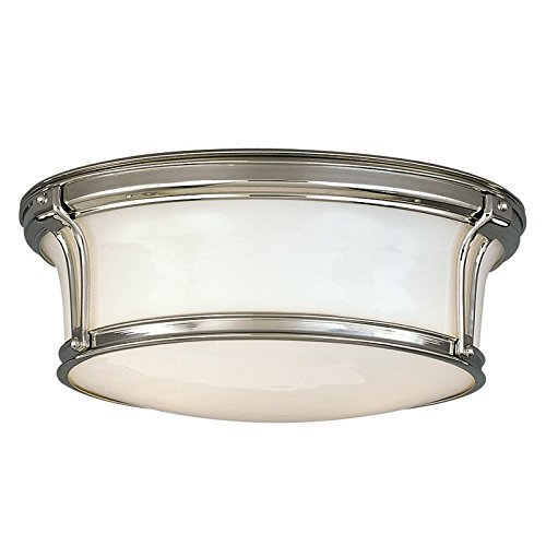 Hudson Valley Lighting Newport Flush 2-Light Flush Mount - Polished Nickel Finish with Opal Glossy Glass Shade by Hudson Valley Lighting
