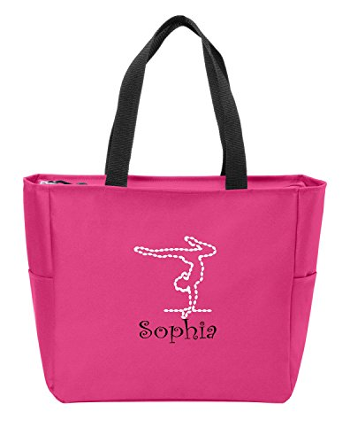 Personalized Canvas Tote Bag With Gymnastics Logo Shoulder Bag with Customizable Embroidered Monogram Design Pink Azalea