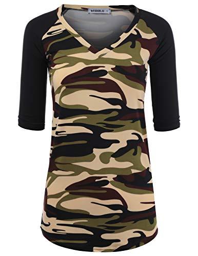 Doublju Women's V-Neck 3/4 Sleeve Top Raglan Floral Printed T-Shirt, CAMOBLACK 2X Plus Size