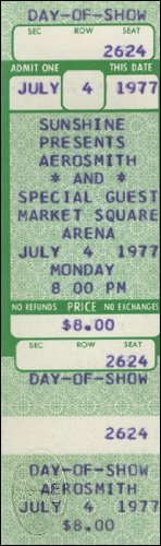 Aerosmith 1977 Unused Concert Ticket Nazareth
