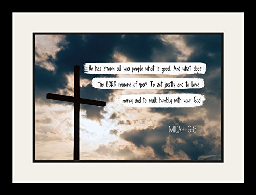 Micah 6:8 Walk humbly with your God. - Christian Poster, Print, Picture or Framed Wall Art Decor - Bible Verse Collection - Religious Gift For Holidays Christmas Baptism (19x25 Framed) by WeSellPhotos