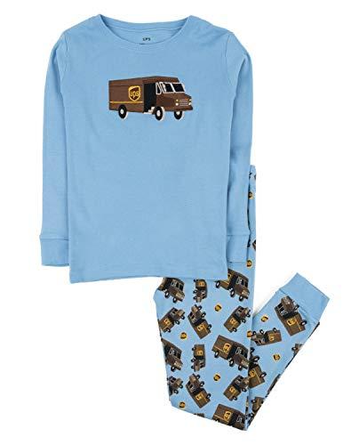 (Leveret Boys UPS Truck 2 Piece Pajama Set 100% Cotton Blue 6 Years)