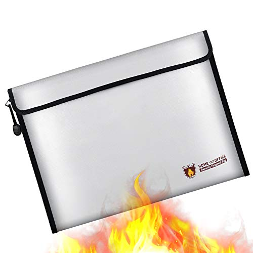 (IGREAT Fireproof Document Bag,Resistant 1832°F Water Resistant Document Holder Non-Itchy Silicone Coated Protect Important documents, Jewelry, Cash, etc.)