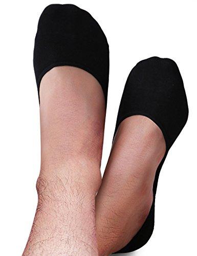 VERO MONTE 4 Pairs Mens No Show Socks BLACK 11-13 for Low Profile Shoes
