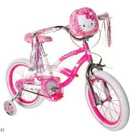 Hello Kitty Girls' Bike 16 inch with training wheels, bag an