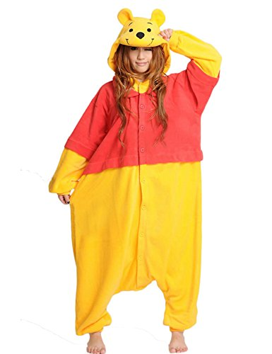 (Winnie Onesie for Adult. Fleece Animal Pajama Costume for Women, Men and Teenagers (Large,)