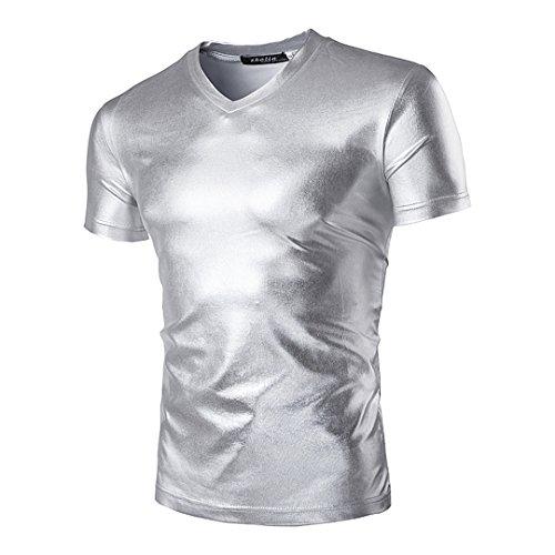 Novia's Choice Men Shiny Metallic Tank Top Shirt Performance Short-Sleeve T-Shirt(Silver XL)