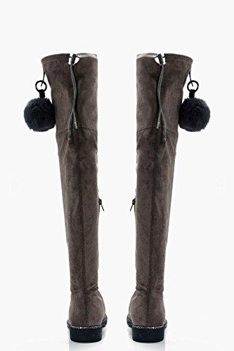 Grau Damen Zhi Overknee-Stiefel mit glitzernder Einfassung und Bommel Grau