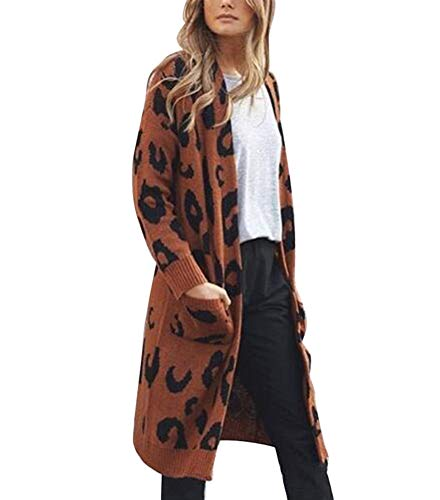 - Women's Long Sleeves Knitted Leopard Cardigan Open Front Warm Winter Maxi Sweater Outwear Coats with Pocket Brown L