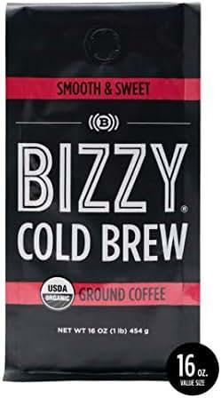 Bizzy Organic Cold Brew Coffee | Smooth & Sweet Blend | Coarse Ground Coffee | 16 oz