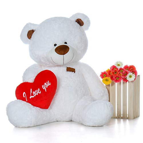 (Giant Teddy Original Brand - Biggest Collection of Super Soft Stuffed Teddy Bears (Pillow Heart Included) (Snow White, Life-Size))