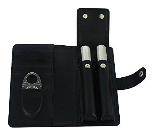 Cigar Cutter, Cigar Holder, Stainless Steel & Black Leather Case Best Man Gift (Spider)