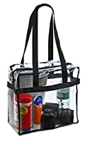 """Clear Tote Bag NFL Stadium Approved - 12"""" X 12"""" X 6"""" - Shoulder straps and zippered top. The clear bag is perfect for work, school, sports games an"""