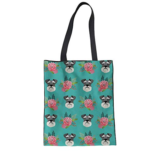Upetstory Schnauzer Floral Pattern Large Cotton Canvas Tote Bag Handbags Top-Handle Bags Shoulder Shopping Bags
