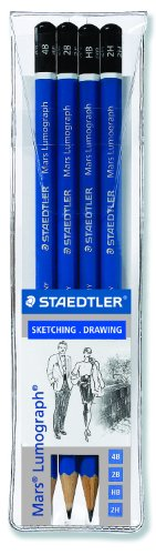 Staedtler Lumograph Graphite Drawing & Sketching Pencils, Set of 4 Degrees (100WP4) by Staedtler