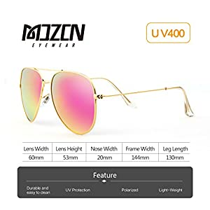 MOZON Mirrored Aviator Polarized Sunglasses for Mens & Womens UV-400 Pink