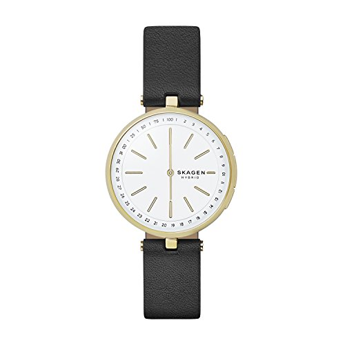Skagen Women's Hybrid Smartwatch - Signatur T-Bar Black Leather SKT1402 (Classic Skagen Ladies Links)