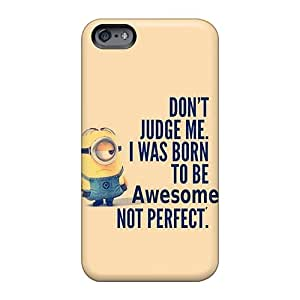 AshtonWells Apple Iphone 6 Protective Hard Cell-phone Cases Custom Fashion Minion Born To Be Awesome Skin [UXb3301mElJ]