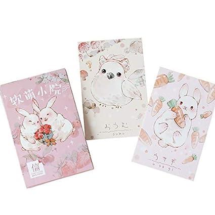 Amazon Com 30 Pcs Pack Kawaii Cartoon Rabbit Bird Postcard