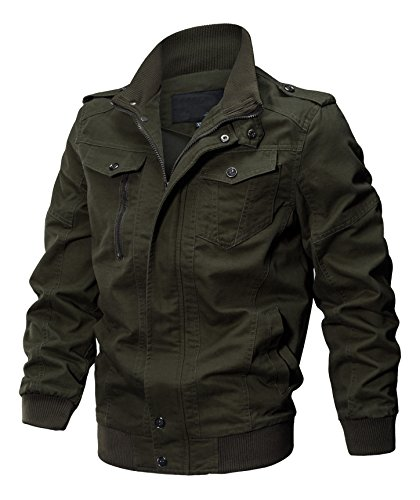 Seeksmile Men's Cotton Lightweight Casual Jacket (Small, Army Green) ()