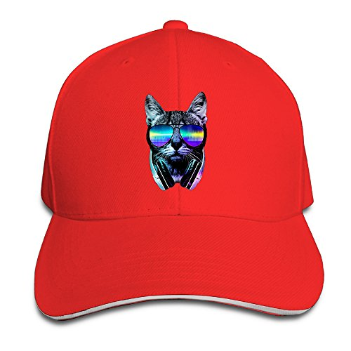 Cool DJ Cat With Glasses Snapback Hats Red Sandwich Peaked Cap (Caps Controller Dj)