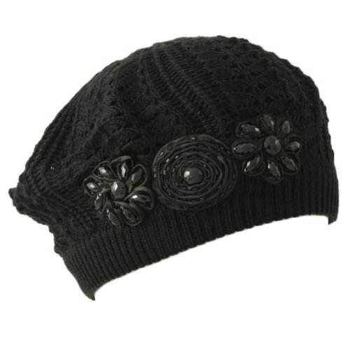 Hatagories Reann Beret with Jewels. Black, one size.