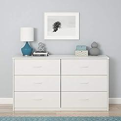 Bedroom Mainstays 6 Drawer Dresser, White Stipple